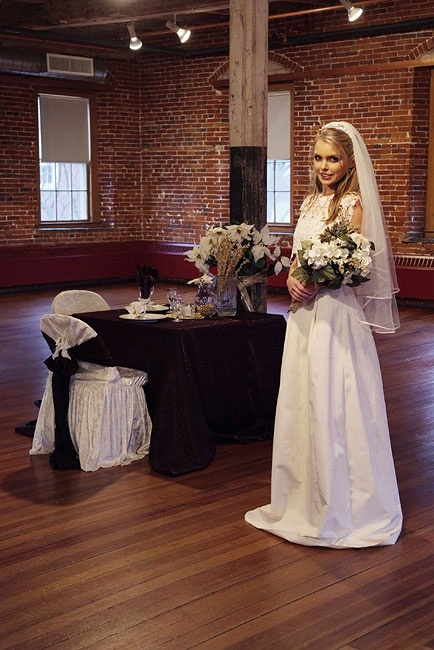Gown and table setting we did for hoto shoot at Belknap Mill - beautiful room for a function! by Philbrick Photo