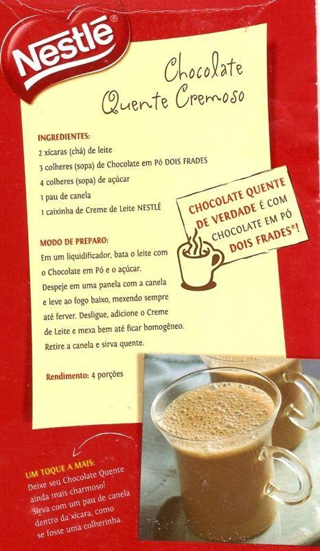 Receitas Mantovani's: Chocolate Quente Cremoso (Nestlé)