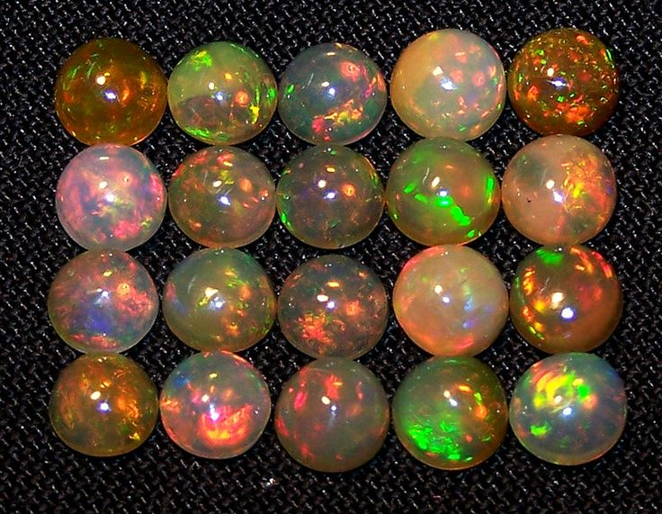Super Flashy Golden-Brown 5 MM Natural Ethiopian Welo Opal Cabochon Rainbow Fire