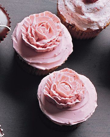 Piped-Rose Cupcakes Food Baby shower Birthday party Cupcakes Dessert Tea party Email
