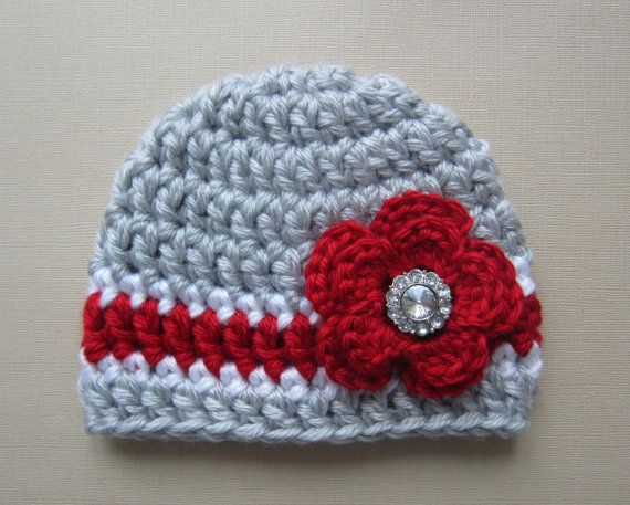Ohio State Inspired Newborn Hat - Chunky Red and Grey Hat with Red Flower and Rhinestone - Great Gift or Photo Prop  for Buckeye babies