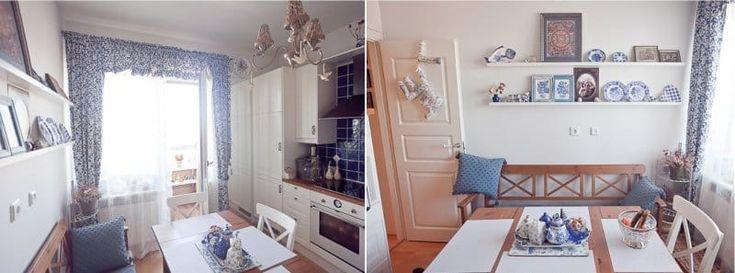 Раскладной деревянный стол в интерьере маленькой кухни