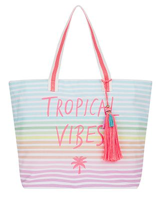 Turn up the tropical vibes with our bright and colourful beach bag. Embroidered with a neon slogan and palm tree on rainbow stripes, this oversized bag is pe...