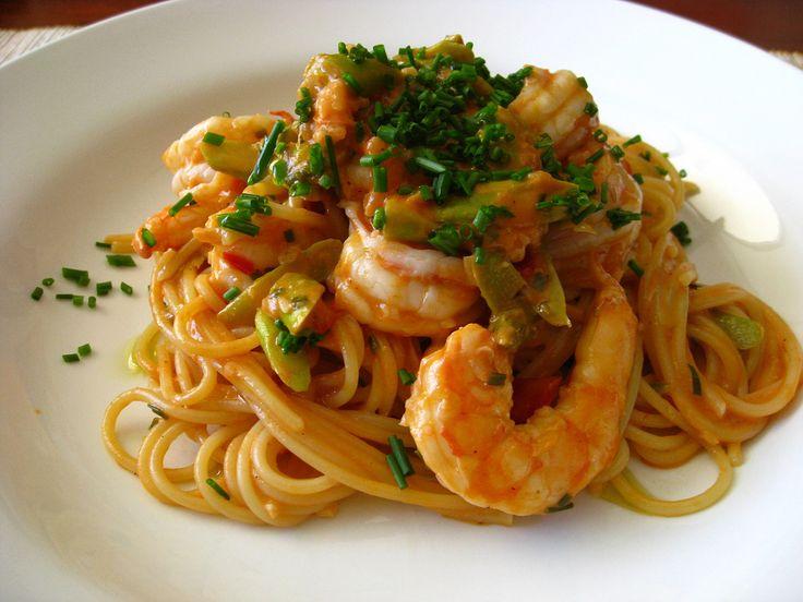 Receta de espaguetis con gambas