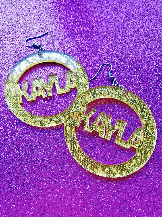 Awesome Custom Name Earrings Gold Bling Fresh PrinceBel AirParty