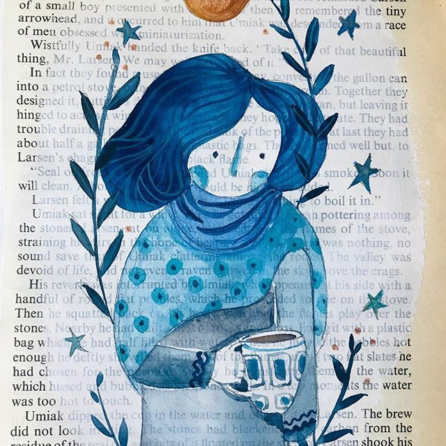 Indigo lady. Floral and blue. Chilling with a cuppa and a moment of thinking! she and her friends are for sale ✨DM for info✨ #portrait #lady #bluehair #coffee #tea #cuppa #pattern #chilling #relax #irishart #artonpaper #artforwalls #artforsale #affordableart #irishillustration #womenwhodraw #originalart #instagallery