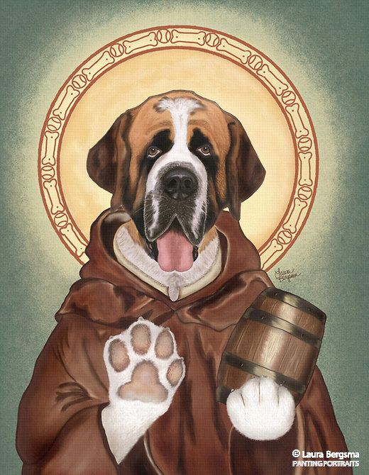 """St. Bernard"" artwork - Known as the doggy saint of provision, St. Bernard is respected among canines for his humble ways. With his halo of bones and balls he is always ready to serve a keg of fresh water to any poor pooches in need."