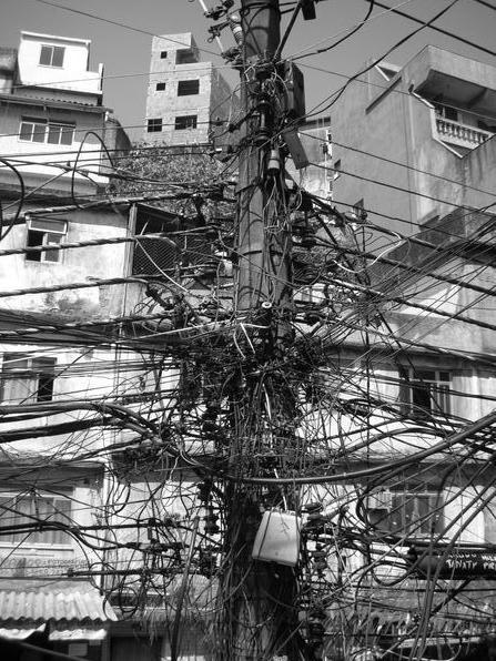 Connected, Rio de Janiero. electricity, wire, urban, favela, Brazil, South America, electric, city, development,