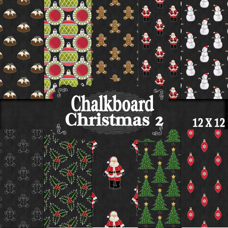 Christmas Chalkboard 12 x 12 Papers 2, Chalk look papers, , Digital Download, Spend 20 dollers use code TAKE50OFF Get half Price by DigitalPaperCraft on Etsy