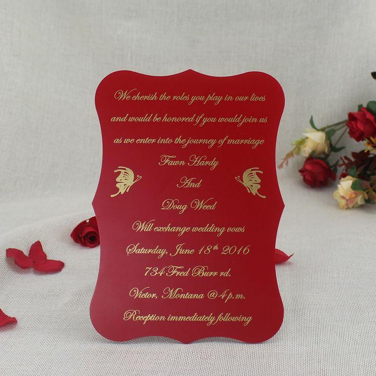 wedding invitation templates for muslim%0A Custom Printable Red Acrylic Wedding Invitation Cards in a box