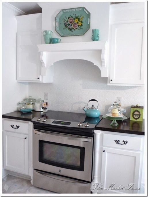DIY Kitchen Remodel. Butcher Block Counters. Love The White And Teal/blue. Kitchen  Exhaust FanKitchen ...