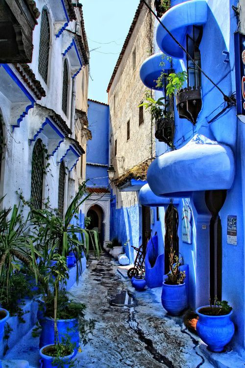 The blue streets of Chefchaoun, Morocco. Mesmerizing! #Chefchaoun #Travel #Morocco. Follow me for good pins. https://www.pinterest.com/MadeAndPrinted/