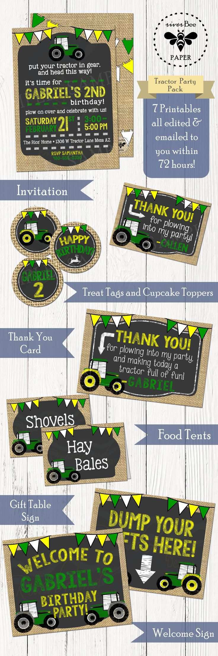 Tractor Party Pack Printables including Invitation, Cupcake Toppers, Thank You Card, Treat Tags, Food Tents, Welcome Sign and Gift Table Sign all from riverBee Paper for $25! #JohnDeere #Tractor #Birthday