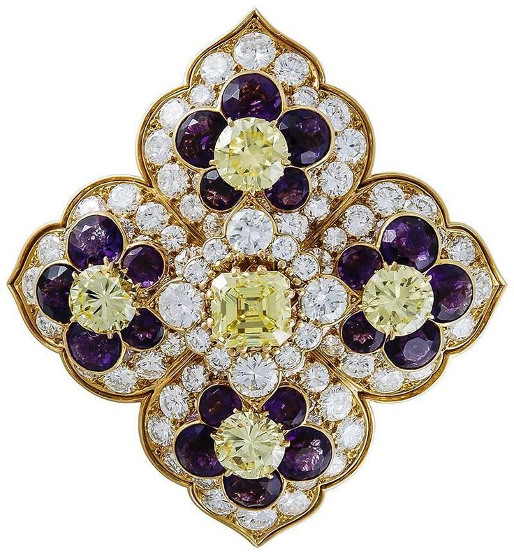 Van Cleef & Arpels Amethyst Diamond Gold Brooch.