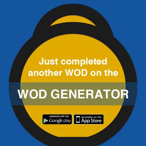 I just completed a WOD using the WOD Generator on iOS! WOD: 10 Min AMRAP  Run 400m  10 Kettlebell Swings  20 Calorie Row  10 Medball Slams