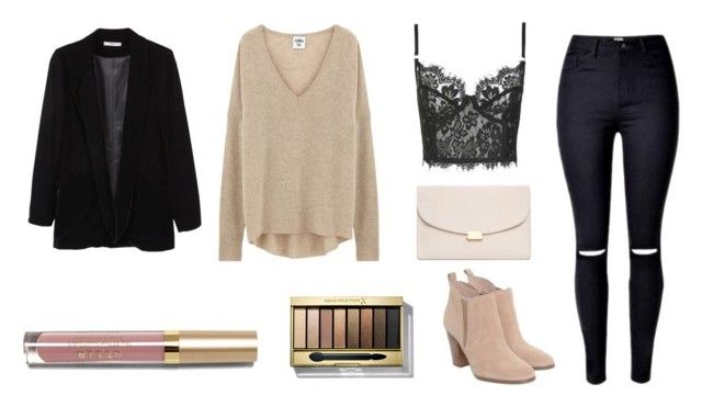 black and pink by maria-belen on Polyvore featuring Topshop, MANGO, Michael Kors, Mansur Gavriel, Max Factor and Stila