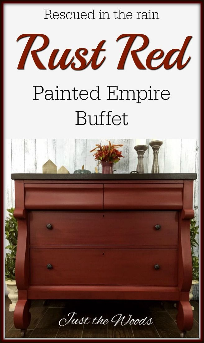 Love red painted furniture? Rescued in the rain, this vintage empire buffet was given a new look with an espresso stain top and custom red rust finish.