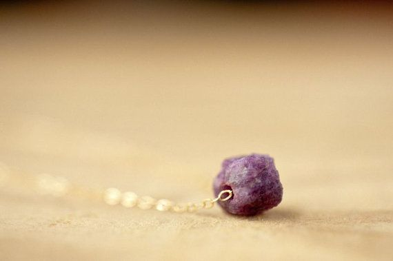 Raw Ruby Necklace 14K Gold Filled Necklace, Uncut Untreated Original Ruby Nugget, Simple Necklace