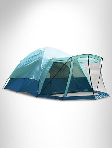 Mountain Breeze Screen Porch Tent  • sleeps up to five adults  • heavy-duty, polyurethane-coated taffeta walls  • rip-stop polyethylene floor with mud mat  • large mesh screen room for cool comfort  • mesh side and roof panels provide superior ventilation  • pin-and-ring frame system with shock-corded poles  • durable speed clips secure tent to frame  • comes with stakes and carry/storage bag  • flame retardant; meets C.P.A.I-84 specifications  • dimensions: 15'l x 10'w x 6.5'h