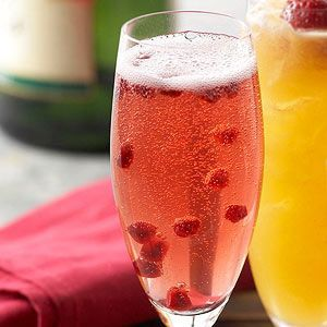 Pomegranate Champagne Cocktail It just takes two ingredients to make a colorful splash at holiday parties.