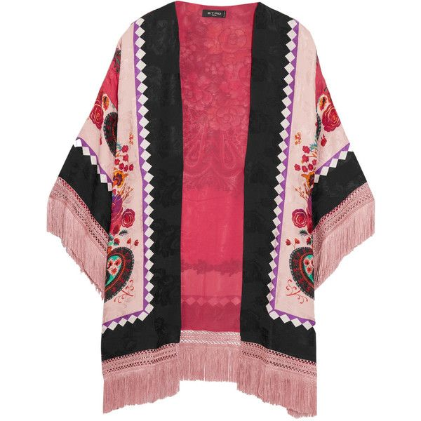 Etro Fringed printed silk-jacquard kimono ($1,250) ❤ liked on Polyvore featuring intimates, robes, pink and etro