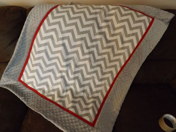 Baby blanket gray and red chevron minky dot by Briteshasblankets, $49.99
