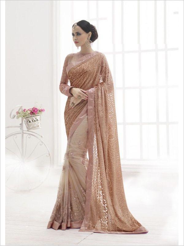 Pink Party Wear Net Saree