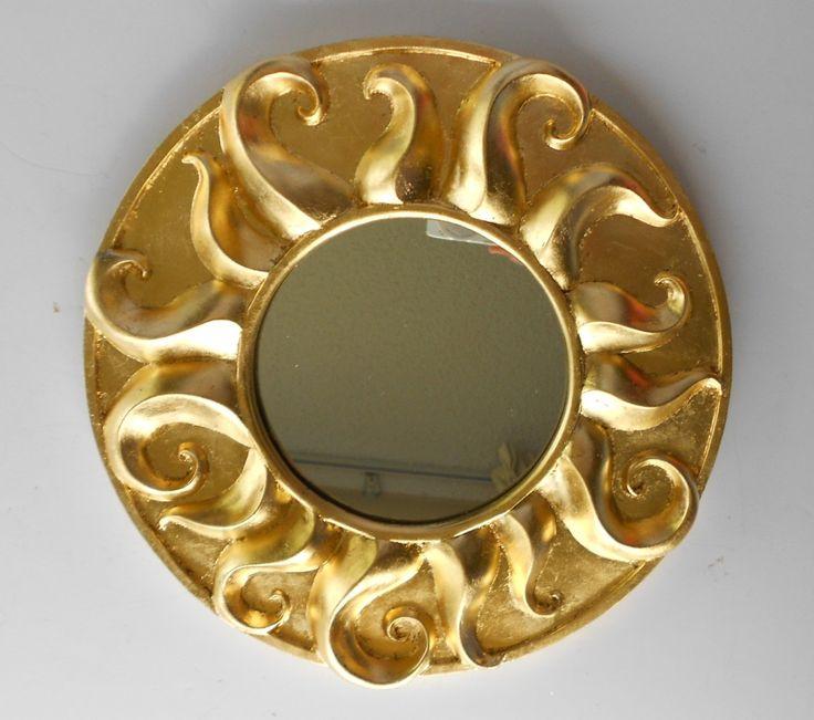 "11.25"",Whimsical Sun Mirror, Mirror Gold, Round Mirror, Wall Mirror Gold, Gold Leaf Mirror, Wall Hanging Mirror, Gold Frame, Sunburst Mirror by GoldLeafGirl on Etsy"