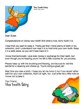Tooth Fairy Letter when you want to keep the tooth
