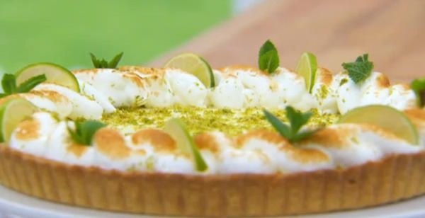 Tasty key lime and ginger pie from the Great British Bake Off. YUM.