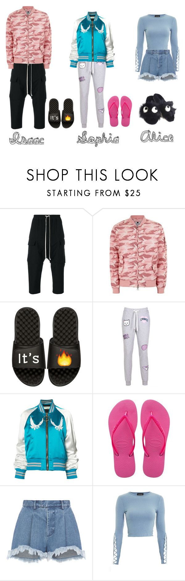 """Play day from Paris.."" by amanda-elpidio on Polyvore featuring moda, Rick Owens, Topman, iSlide, Local Heroes, Off-White, Havaianas, Ksenia Schnaider, Topshop e Anya Hindmarch"