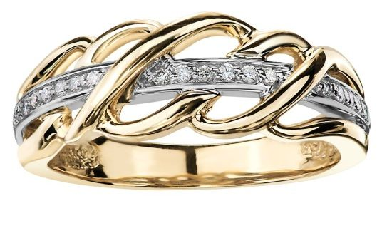 This stunning ring has 10k Yellow gold entwined with a band of 10K white gold and diamonds