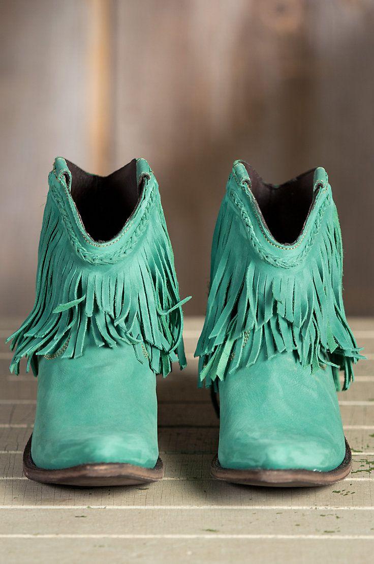 Mint Fringe Cowgirl Boots