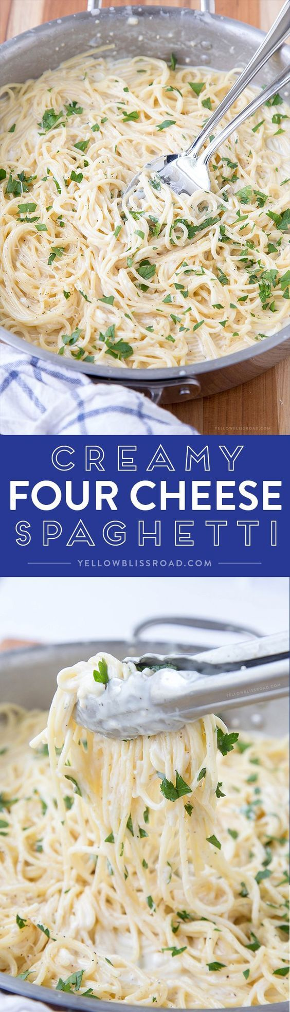Creamy Four Cheese Spaghetti that's ready in 20 minutes! This is a fantastic and easy meal perfect for busy weeknights!