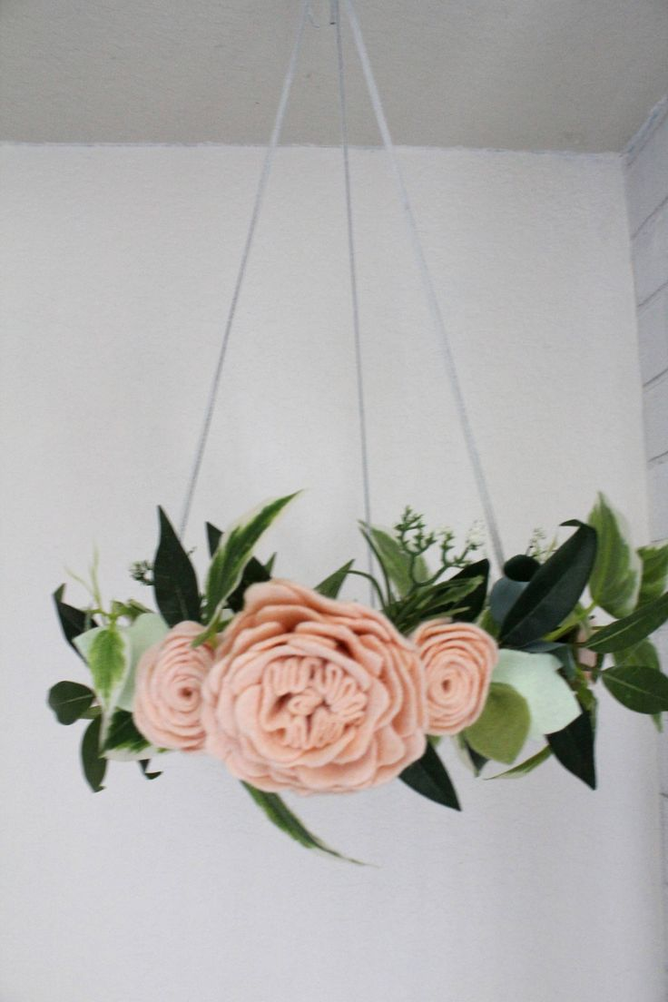 Enchanting FloatingWool Felt Roses Flowers Bloom Baby Girl Mobile Chandelier - Nursery/Crib Decor Girls Room - Woodland - Victorian - Pink by SweetEnchantement on Etsy
