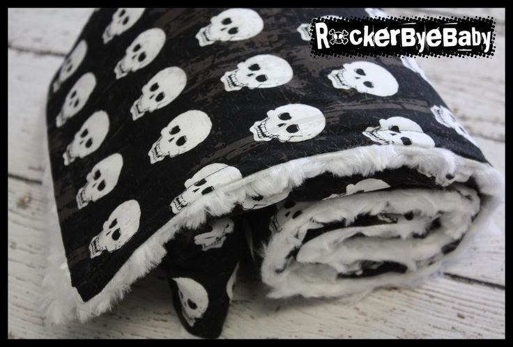 Boy Grunge Skull baby or toddler blanket Punk Rock Skull and heart black tan and white minky swirl by RockerByeBaby on Etsy https://www.etsy.com/listing/150311951/boy-grunge-skull-baby-or-toddler-blanket