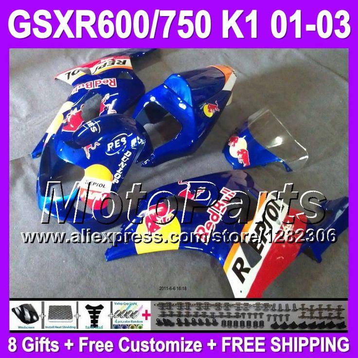 + Синий красный капот для SUZUKI GSXR600 01 02 03 GSX R600 R750 GSXR 600 750 # 443 синий желтый K1 GSXR750 2001 2002 2003 K1 зализах