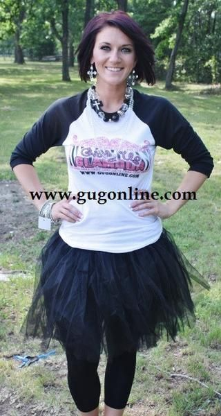 Giddy Up Glamour Black Baseball Tee