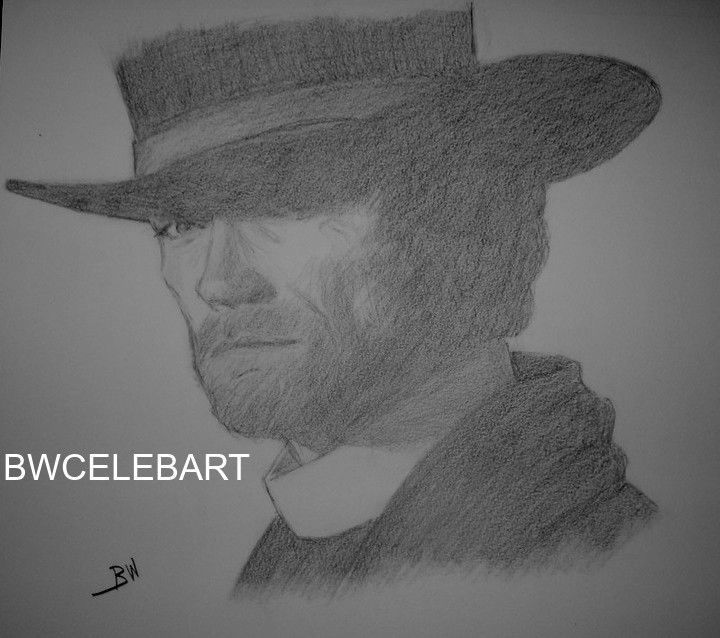 CLINT EASTWOOD PALE RIDER THE OUTLAW JOSEY WALES WESTERN ORIGINAL PENCIL DRAWING #Realism