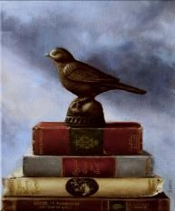 Over the years I have come to realize that no matter how many books read or philosophers studied, the truth is elusive. The world remains a mystery in its beauty and tragedy. We all long to soar, to rise above the human condition, but without wings we remain earthbound, like the iron bird. The painting is a homage to all seekers of knowledge, truth and good will.