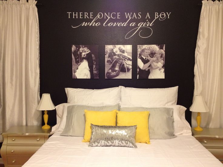 Black great yellow white bedroom..love these colors! I had these colors in my old house. ..