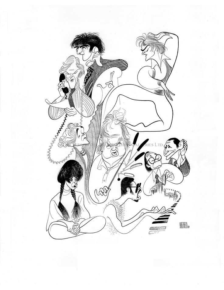 "Al Hirschfeld ~ Major Cultural Figures of 1976: Robert Redford and Dustin Hoffman in ""All the President's Men"", Mikhail Baryshnikov, Cyril Harris, I. M. Pei, Stevie Wonder, Louise Lasser in ""Mary Hartman, Mary Hartman"", and Eva Legallienne in ""The Royal Family"" - courtesy of The Margo Feiden Galleries, Ltd."