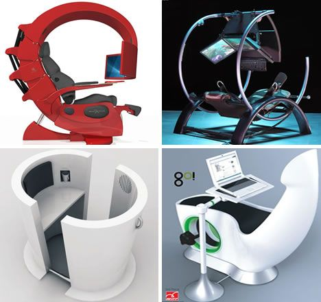 All-in-one work stations for super-futuristic geeks.: Father Cubicles, Love You, Future Households Rooms 3, Chairs, Futuristic Workstation, Neck Pain, Youth Theme, Furniture, Futuristic Stuff