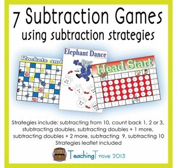 Subtraction games to consolidate the subtraction strategies - each of the seven games in this pack is designed to reinforce a single subtraction strategy.   Included in the pack:  Rainbow Rows - subtraction from 10  Elephant Dance - counting back 1, 2 or 3  Dragon Quest - subtracting doubles  Head Start - subtracting doubles plus one more  Mousetrap - subtracting doubles plus two more  Rockets and Stars - subtracting 9  Point - subtracting 10