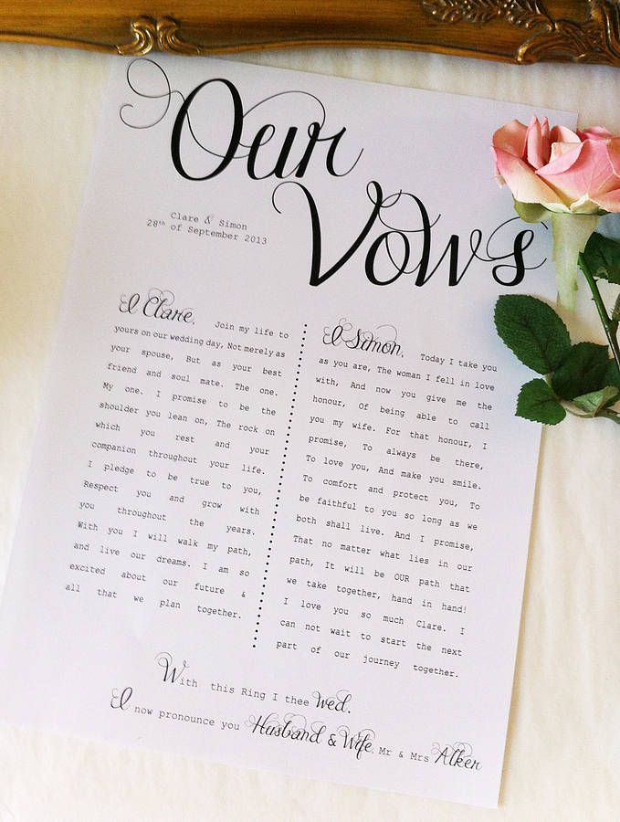 What a great idea! Have your wedding vows printed and framed: