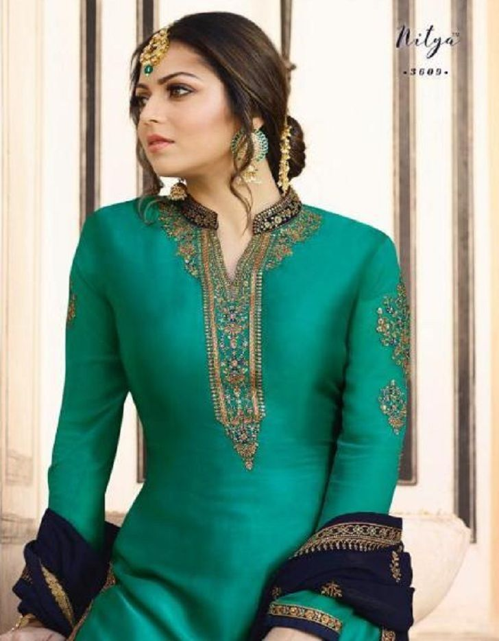 1ad2a2d4cc Lt Nitya Presents Vol-136 Satin Georgette With Embroidery Work Suit 3609