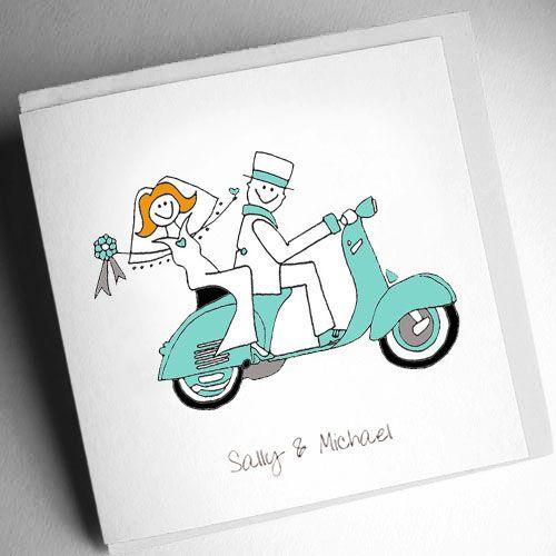 Vespa Wedding Invitation (Folded) [VSRWS000001] - £2.75 : Cool Wedding Stationery, The Coolest Wedding Stationery