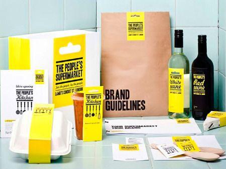 minimalist design in branding for the people's supermarket (uk)