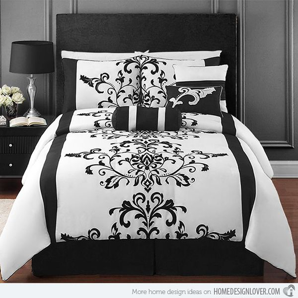 Best 25 silver bedding sets ideas on pinterest silver for Black damask bedroom ideas
