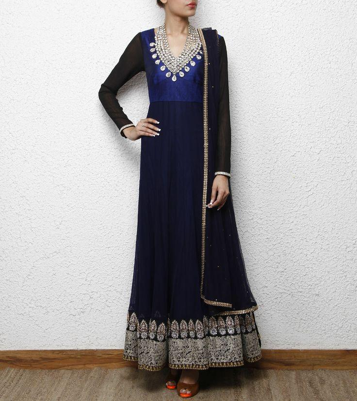 Navy Blue Raw Silk Anarkali with Necklace